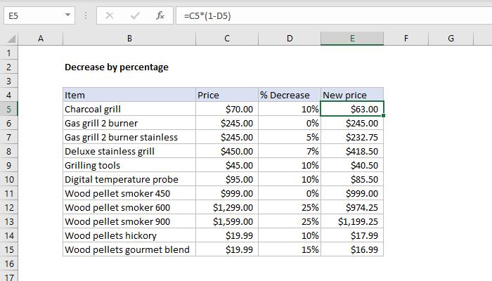 Excel formula: Decrease by percentage