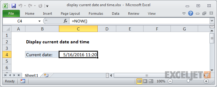 Excel formula: Display the current date and time