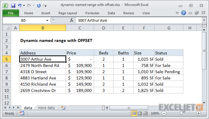 Excel formula: Dynamic named range with OFFSET