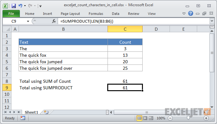 how to count letters in excel excel formula count total characters in a range exceljet 22266 | exceljet count characters in cell