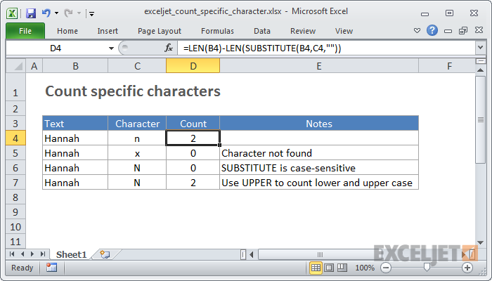 how to count letters in excel excel formula count specific characters in a cell exceljet 22266 | exceljet count specific character 1