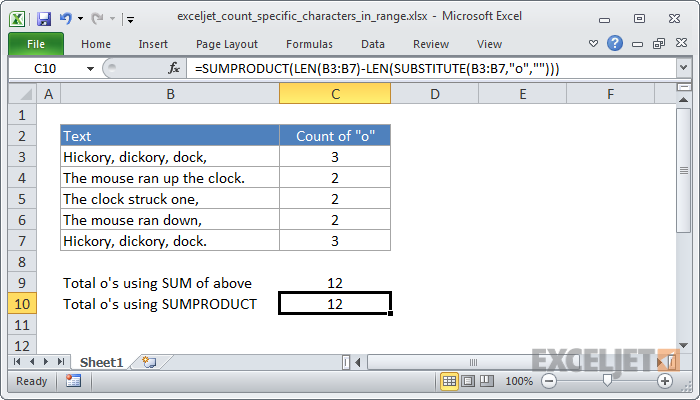 how to count letters in excel excel formula count specific characters in a range exceljet 22266 | exceljet count specific characters in range