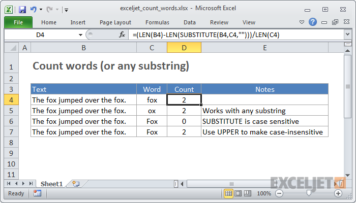 Excel formula: Count specific words in a cell