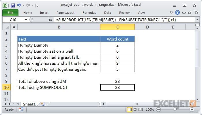 Excel formula: Count total words in a range