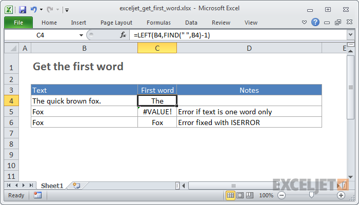 How to use the Excel LEFT function | Exceljet