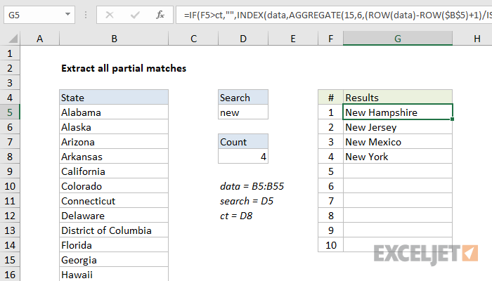 Excel formula: Extract all partial matches