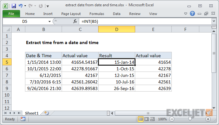 Excel formula: Extract date from a date and time | Exceljet
