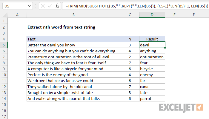 Excel formula: Extract nth word from text string | Exceljet