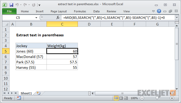 Excel formula: Extract text between parentheses