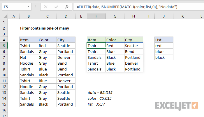 Excel formula: Filter contains one of many