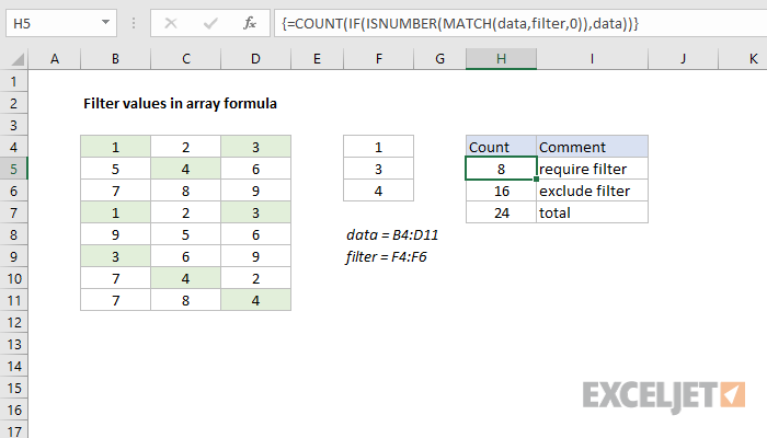 Excel formula: Filter values in array formula | Exceljet