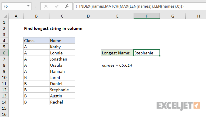 Excel formula: Find longest string in column