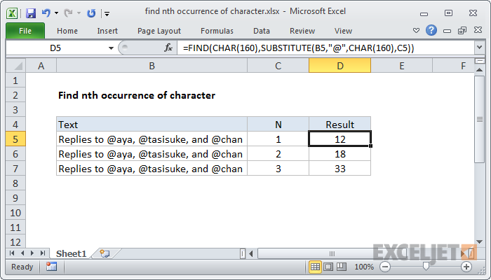 Excel formula: Find nth occurrence of character
