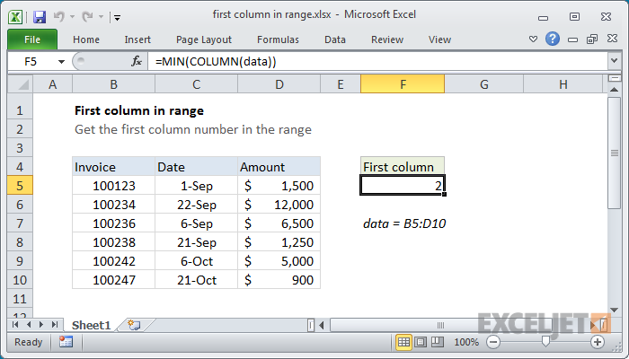 Excel formula: First column number in range