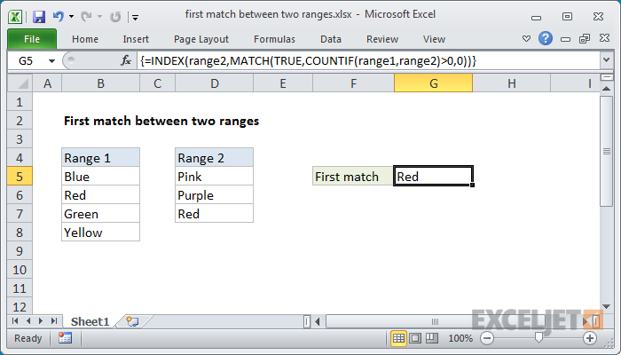 Excel formula: First match between two ranges