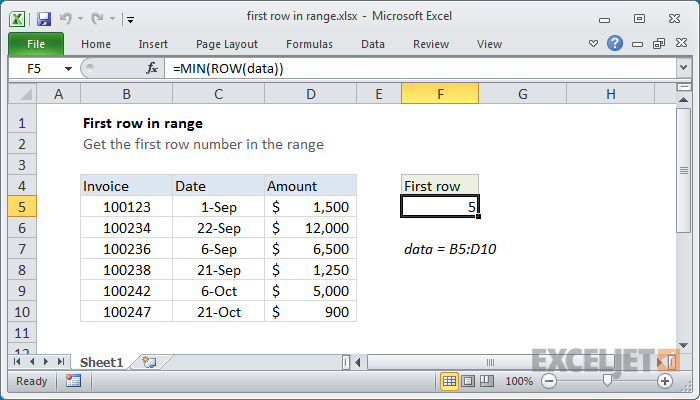 Excel formula: First row number in range