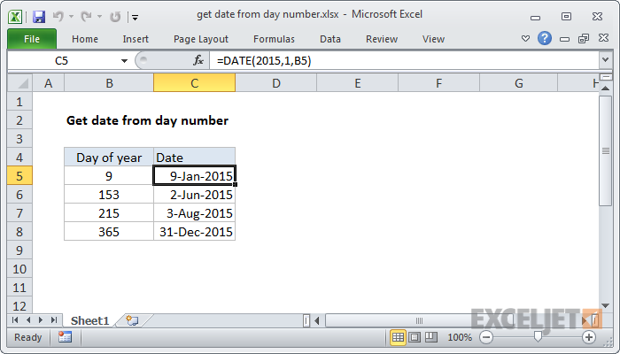 Excel formula: Get date from day number
