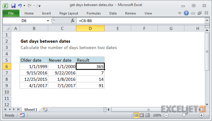 Excel function today minus date
