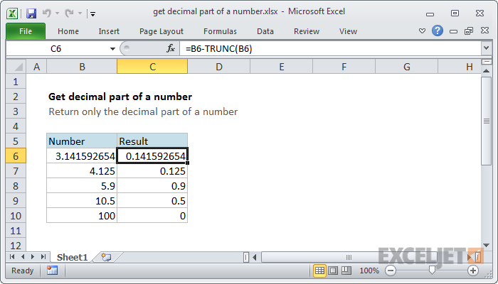 Excel formula: Get decimal part of a number