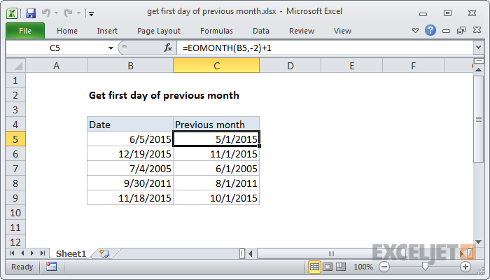 Excel formula: Get first day of previous month