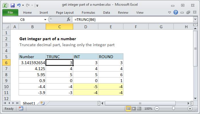 Excel formula: Get integer part of a number