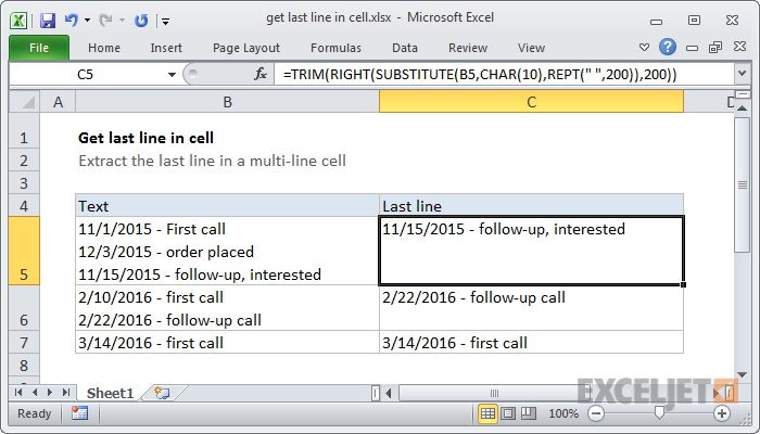 Excel formula: Get last line in cell