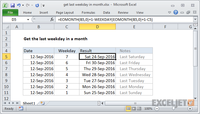 Excel formula: Get last weekday in month