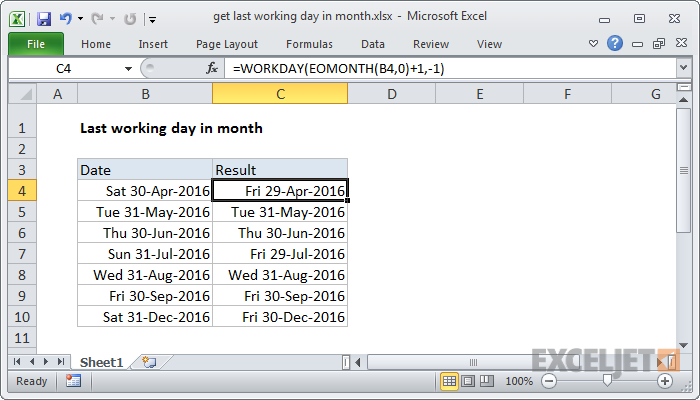 Excel formula: Get last working day in month