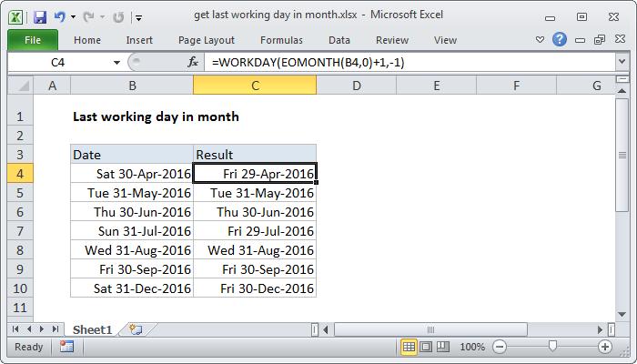 excel formula get last working day in month exceljet