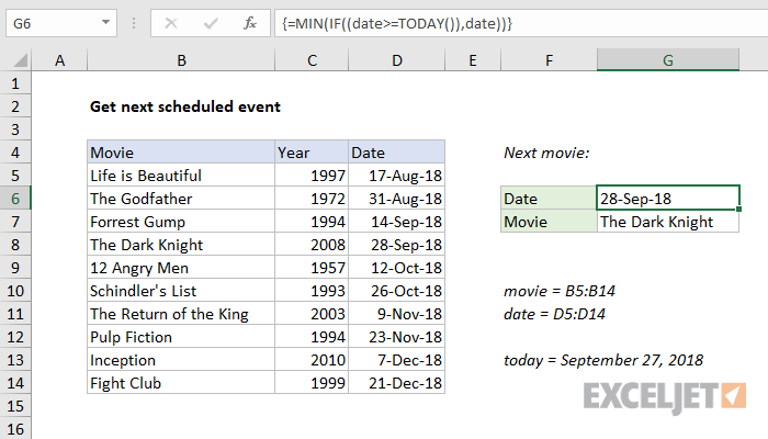 Excel formula: Get next scheduled event