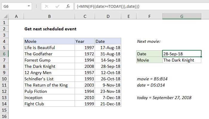Excel formula: Get next scheduled event