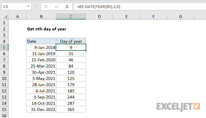 Excel formula: Get nth day of year