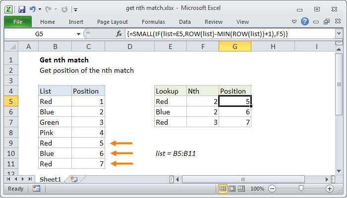 Excel formula: Get nth match