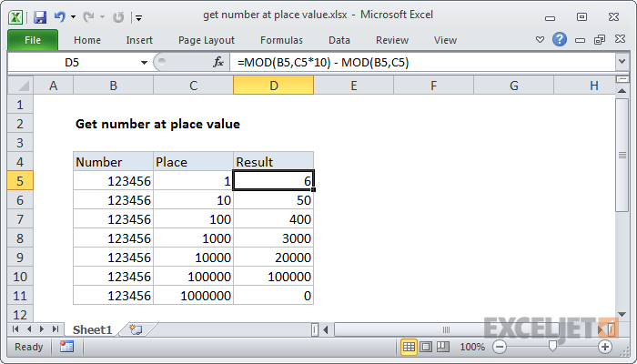 Excel formula: Get number at place value