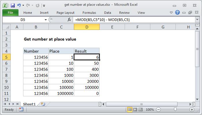 Excel formula: Get number at place value