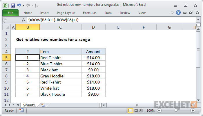 Excel formula: Get relative row numbers in range