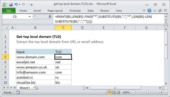 Excel Formula Get Top Level Domain Tld Exceljet. Excel Formula Get Top Level Domain Tld. Worksheet. Excel Vba Worksheet Name Ermitteln At Clickcart.co