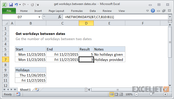 Excel formula: Get workdays between dates