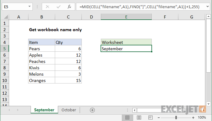 Excel formula: Get sheet name only | Exceljet