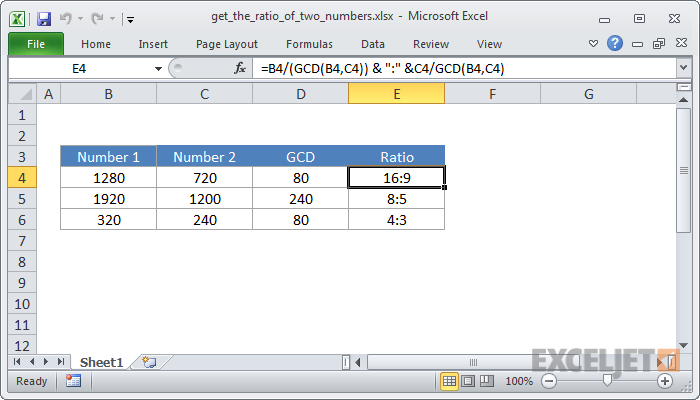 excel formula  calculate a ratio from two numbers