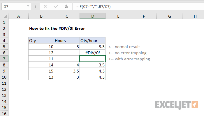 Excel formula: How to fix the #DIV/0! error