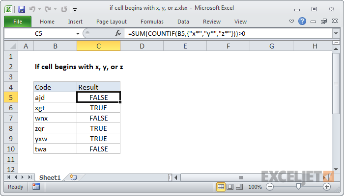 Excel formula: If cell begins with x, y, or z
