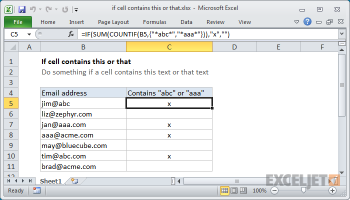 Excel formula: if cell contains this or that