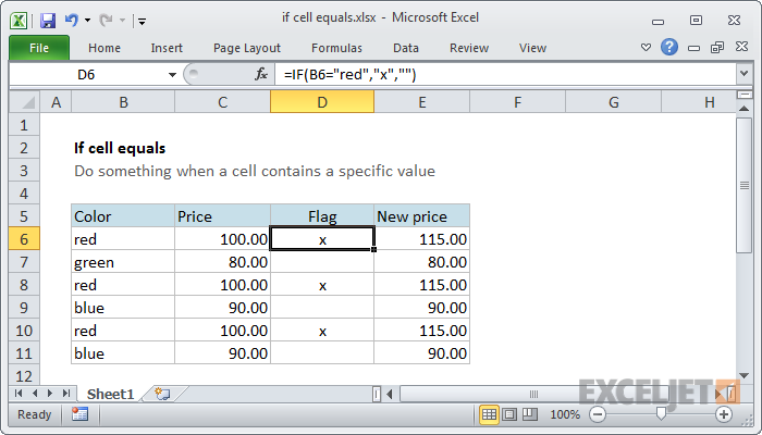Excel text if equal