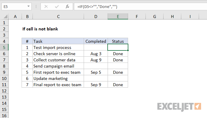Excel formula: If cell is not blank