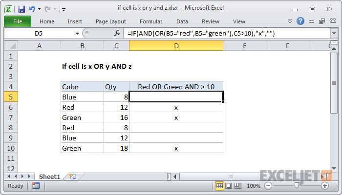 Excel formula: If cell is x or y and z