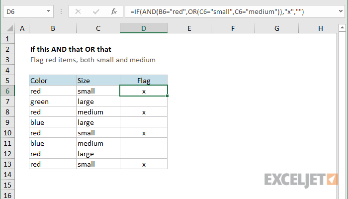 Excel formula: If this AND that OR that