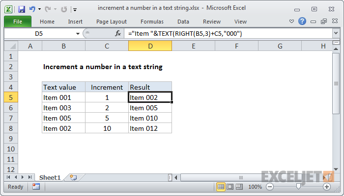 Excel formula: Increment a number in a text string
