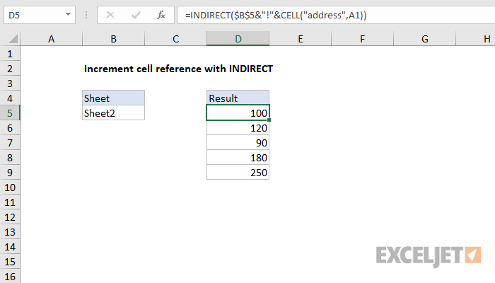 Excel formula: Increment cell reference with INDIRECT