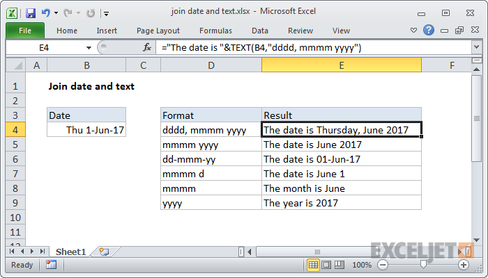 Excel formula: Join date and text